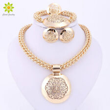 African Jewelry Set Round Pendant Gold Plated Dubai Big Necklace Earrings Sets