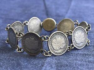 haiti 1880-90s 10 cent Dime 835 silver braclet 8 Dimes 23.5g Tw .
