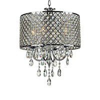 Modern Silver Drum Pendant Light Shade Crystal Ceiling Lamp Chandelier Fixture