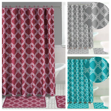 HONEY COMB NEW STYLE 4PC SET BATHROOM BATH MAT RUG SHOWER CURTAIN 2-TONE COLOR
