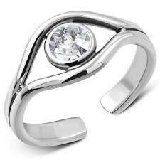 Toe Ring - Sterling Silver 925- Clear CZ Evil Eye