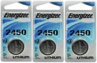 3 x Super Fresh Energizer CR2450 ECR 2450 3v LITHIUM Coin Cell Battery Exp. 2026