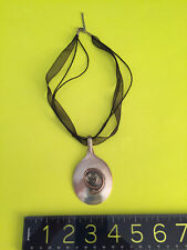 VINTAGE ANTIQUE SPOON PENDANT on cord and ribbon Necklace Silverware Jewelry