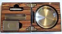 Zebra Wood Effect 3 Piece Folding Cigar Box Ashtray With Cutter,Punch,Cigar Rest