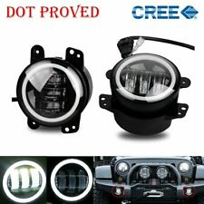 2X 4inch 30W Led Fog Light White Beam for Wrangler LJ JK TJ 6000K Round SUV