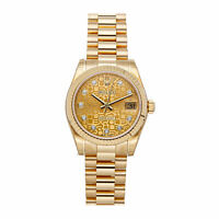 Rolex Datejust Auto 31mm Yellow Gold Ladies President Bracelet Watch 178278