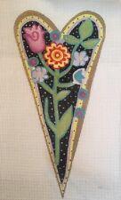 FLOWERS IN HEART HANDPAINTED NEEDLEPOINT CANVAS JULIA'S ON SALE
