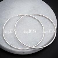 Women's 925 Sterling Silver Medium Size Endless 1.8mm Thin Hoop Earrings H3Q40MM