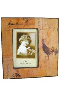 "Photo Frame 4 x 6"" Vintage Rustic Chicken & Postal Design Brown Cream Distressed"