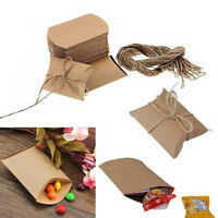 100× Kraft Paper Pillow Box Candy Bags Wrap Favor Wedding Party Xmas Gift BoxUS