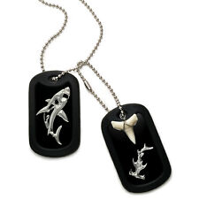 Real Shark Tooth Necklace Aluminum Dog Tag w/ Hammerhead and Great White Shark