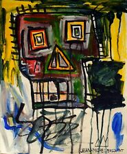 Vintage Abstract Painting Signed Jean-Michel Basquiat, Modern Old 20th Art