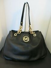 Michael Kors Black Fulton Pebbled Leather Gold Chain Handle Tote Bag Footed