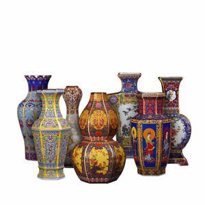 Full 7Pcs Jingdezhen Ceramics Enamel Vases Qing Yongzheng Antique Reproduction