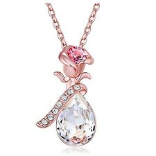 White Teardrop Austrian Crystal Rose Flower Rose Gold Plated Pendant Necklace