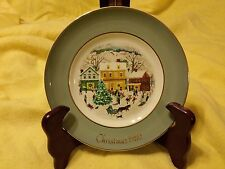1980 Avon Christmas Plate With Pale Blue Green Border And Village Scene (New)