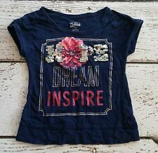 JUSTICE Girls Hope Dream Inspire Flower Blue Tee 6 VGUC