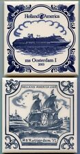 Holland America Blue Delft Tile Cork Backed Coasters Trivets Rotterdam Oosterdam