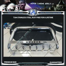 VW VOLKSWAGEN AMAROK BULL BAR CHROME AXLE NUDGE A-BAR 60mm 2010-2016 LOGO NEW
