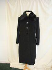Ladies Coat Eastex UK 14, black wool w/cashmere, faux fur collar, classy 2369