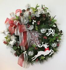 REINDEER CHRISTMAS EVERGREEN WREATH HOLIDAY JOY XMAS HANDMADE GIFT PRESENT NEW