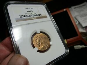 GOLD  1909-D  INDIAN HEAD HALF EAGLE  NGC  MS-63  A BEAUTY   A 1/4 OUNCE OF GOLD