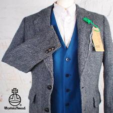 38R HARRIS TWEED Blazer Jacket Vintage Blue Herringbone Hacking Wedding #482