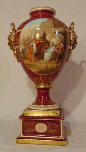 LARGE Austrian Royal VIENNA PORCELAIN URN Greek Achilles Red Gold K Weh 24""