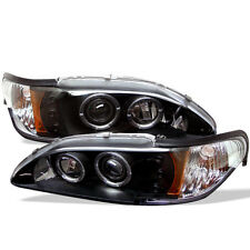 Ford 94-98 Mustang Black Dual Halo LED Projector Headlights Lamp Base SVT GT