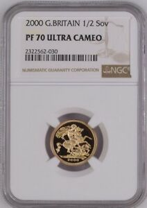 2000 G.BRITAIN GOLD PROOF HALF SOVEREIGN NGC PF70 ULTRA CAMEO
