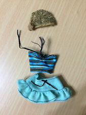 Barbie My Scene Doll Outfit Blue Stripe Halter Top Mini Ruffle Skirt Hat Clothes