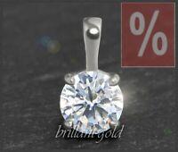 Diamant Brillant 585 Gold Damen Anhänger, Solitär 1,05 ct, River D, Si; Weißgold