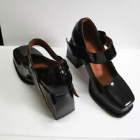 Women's Patent Leather Mary Jane Shoes Square Toe High Heels Buckle Retro Pumps