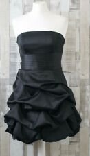 New Look Black Satin Look Strapless Layered Party Dress Size 10