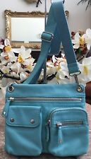 Fossil Turquoise Medium Blue Pebbled Leather Pouch Pockets Shoulder Handbag EUC!