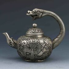 TIBETAN SILVER HANDWORK CARVED DRAGON TEAPOT W QIAN LONG MARK