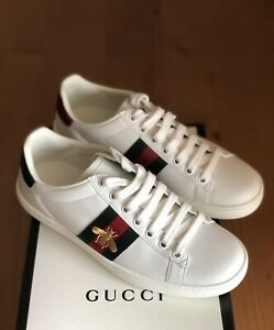 NIB Iconic Authentic Gucci Ace Bee White Leather Sneakers Size EU 36 US 6