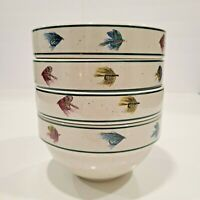 Set of 4 Folkcraft RAINBOW TROUT by Scotty Z Stoneware CEREAL  SOUP BOWLS