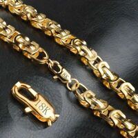 750er Gold Damen Herren Halskette Königskette 18 Karat Gelb Gold Vergoldet