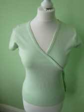 Short Sleeve Thin Knit Wrap Tops for Women