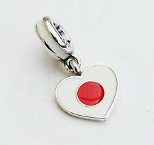 Authentic Pandora Japan Heart Flag Dangle Charm W/ Pandora TAG & BOX #791553ENMX