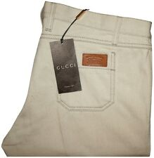 $570 NEW GUCCI NATURAL LOW RISE SKINNY FIT JEANS w LEATHER PATCH e54 40 X 34