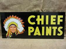 Vintage Doubled Sided Chief Paint Sign > Antique Old Metal Store Hardware 8234
