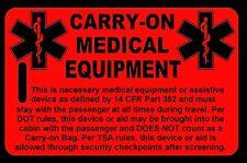 Hi-Viz Red Carry-On Medical Equipment Bag Tag - TSA - CPAP BiPAP APNEA POC