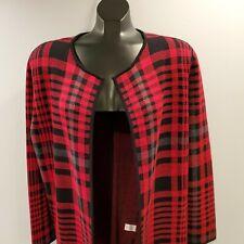 TALBOTS Red Tartan Plaid Knit Sweater Jacket Open Front Women's Plus 1X Cardigan