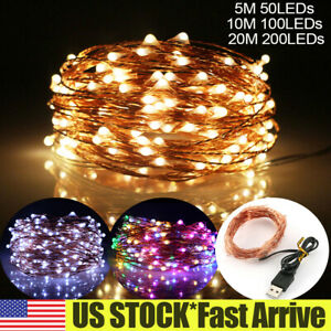 DIY AA USB Plug In 50/100/200 LED Micro Copper Wire Fairy String Lights Xmas US