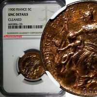 France Bronze 1900 5 Centimes NGC UNC DETAILS RED TONED KM# 842