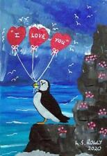 More details for puffin valentine a  original scottish impressionist oil painting  l s rowly