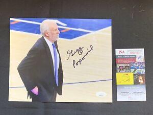 GREGG POPOVICH Autographed SAN ANTONIO SPURS 8x10 Photo w/ JSA Authentication