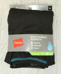 Hanes Boys Tagless Base Layer Crew and Pant Set Size M (10-12) BLACK Long Johns